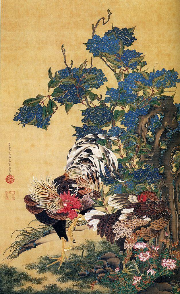 627px-Ito_Jakuchu_AjisaiSoukei-zu